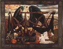 художник Эрнст Фукс. Ангел смерти над воротами в чистилище.